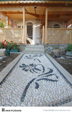 Mosaic Rocks, Pebble Mosaic, Mosaic Diy, Stone Mosaic, Rock Walkway, Stone Walkway, Stone Path, Outdoor Tiles Floor, Laurel House