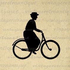 Lady Riding Bicycle Silhouette Printable Image Graphic Woman on Bike Download Digital Artwork Vintage Clip Art. Vintage printable graphic illustration for printing, fabric transfers, t-shirts, papercrafts, and many other uses. This digital graphic is high quality, large at 8½ x 11 inches. Transparent background version included with every graphic.