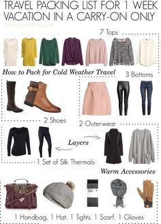 you pack for cold weather travel in just carry-on luggage? Find out how and Can you pack for cold weather travel in just carry-on luggage? Can you pack for cold weather travel in just carry-on luggage? Travel Wardrobe, Capsule Wardrobe, Travel Outfit Spring, Travel Outfits, Outfit Summer, Restaurants In Paris, Packing List For Travel, Packing Tips, Winter Travel Packing
