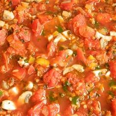 Marinara Sauce III - 7 cups fresh skinned toms - cook down, blend, sieve = too thin, add cooked onion/garlic, carrot, celery, sweet pepper, mushrooms, dried oregano, fresh parsley, fresh basil = too thin, add 6 oz tom paste = way too much, add can stewed toms to dilute = better