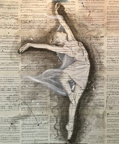 Freedom Forever 1 - 1.20 m Indian Ink on Musicpaper on canvas ballet