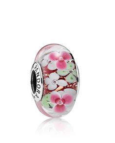 Pandora Charm - Sterling Silver & Glass Flower