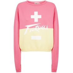 Fiorucci High Voltage Cropped Sweatshirt ($170) ❤ liked on Polyvore featuring tops, hoodies, sweatshirts, print sweatshirt, boyfriend sweatshirt, beige top, two tone sweatshirt and beige sweatshirt