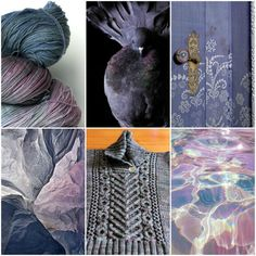Sources, left to right, top to bottom:TFA Pink Label Lace Weight in Dove,pigeon,door,rock face,I Heart Aran,water,