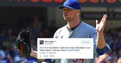 Cubs pitcher Jon Lester brilliantly responds to Twitter users who think he's Lester Holt - http://howto.hifow.com/cubs-pitcher-jon-lester-brilliantly-responds-to-twitter-users-who-think-hes-lester-holt/