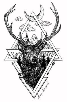 #art #graphic art #drawing #deer #red stag #geometry #animals #print #tattoo