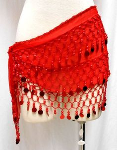 Adult Women RED Belly Dance Dancing HIP Skirt SCARF Wrap Belt #Unknown