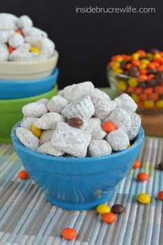 Chex and Reese's Puffs cereal coated in peanut butter chocolate and tossed with two kinds of Reese's candies