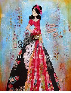 GALLERY - Julie Nutting Designs Prima Paper Dolls, Prima Doll Stamps, Paper Collage Art, Paper Art, Paper Crafts, Bullet Journal Art, Mixed Media Collage, Texture Art, Art Journals