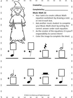 Music Math with a Halloween Theme!  24 worksheets aimed at reinforcing students' understanding and knowledge of note and rest values.  Each music math worksheet has a Halloween image for the student to color.  #musiceducation    #musedchat