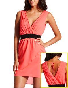 Chiffon Surplice Tie-Back Dress