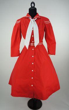Deadstock Vintage 1980s does 1950s Red Sailor Dress Size 10 / M