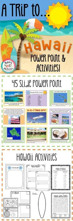 Trip to Hawaii Power Point and Activities Pack! Great for end of year Hawaii party or just for fun!