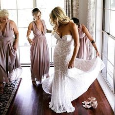 "Getting ready for forever we love ""Pippin"" by @watterswtoo! PC: @mitchpohl #loveandlacebridal #wtoo #classic #glam #love"