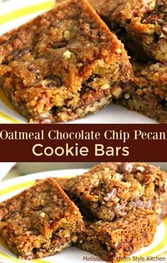 Chocolate chip cookie bars are one of my sweetest childhood memories. These Oatmeal Chocolate Chip-Pecan Cookie Bars are not only filled with oatmeal, chocolate chips and pecans but they have a healthy dose of nostalgia as well.