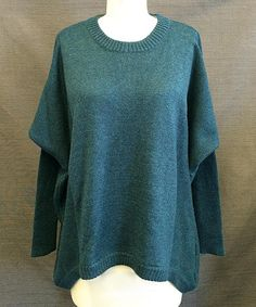 Look at this Teal Knit Festival Pullover Sweater by Vintageous Hippy Fashion, Pulls, Pullover Sweaters, That Look, Teal, Comfy, Knitting, Cotton, How To Wear