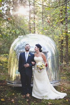 Kate and Steve's Vintage Inspired Wedding at Camp Angelos with Airstream trailer in the forest
