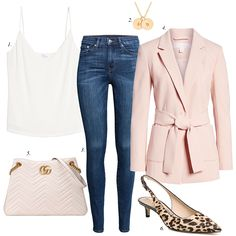 how to style a pink blazer for summer, how to wear leopard pumps, skinny jeans, build a staple wardrobe