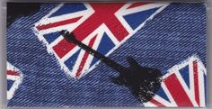 "Great Britain Rock Guitar Music Checkbook Cover by Tickled Pink Boutique. $5.00. The sturdy clear VINYL COVER encases a fabric bonded design. Measuring 6 1/4"" x 3 1/4"",  the cover fits all standard bank checkbooks and banking registers.  All checkbook covers come with a register flap and a duplicate check flap  just like the bank, only flashier.  These checkbook covers are a great alternative to the expensive covers offered by banks and online check companies."