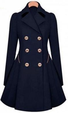 Women's modern double breasted trench coat with turndown collar and front pockets.