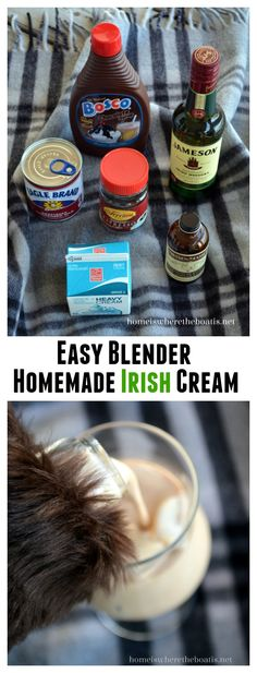 DIY Homemade Irish Cream Liqueur, an easy blender recipe that's ready in 5 minutes. One sip and you'll never buy it again! homeiswheretheboa... #stpatricksday #DIY #foodgift