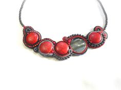 Red and grey, soutache necklace