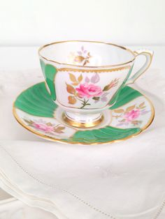 Vintage English Bone China Royal Stafford Teacup & Saucer Tea Party - c. 1960s by MariasFarmhouse on Etsy https://www.etsy.com/listing/215741322/vintage-english-bone-china-royal