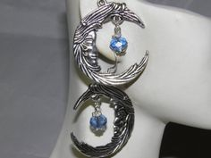 Artisan Crafted Silver Moon Goddess Earrings Water Element Blue Swarovski Crystals and Pewter by MelancholyMind on Etsy