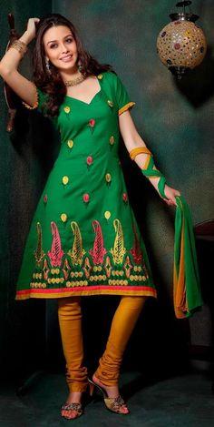 $33.48 Green Resham Work Cotton Churidar Salwar Kameez 26268