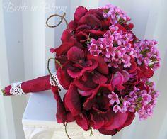 nice accents! raspberry wedding boquets | Wedding bouquet Bridal bouquet Raspberry red pink silk wedding flowers