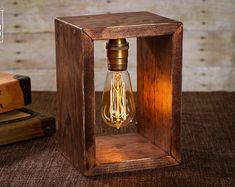 Caja de sombra Edison lámpara | Lámpara de mesa | Lámpara de escritorio | Luz de noche | Luz de noche | Madera | Lámpara | Bombilla de Edison | Industrial