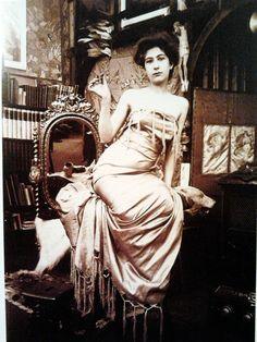 Model at Alphonse Mucha studio in Paris, rue du Val de Grâce , 1899