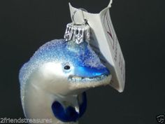 "Varsovia Dolphin Ornament Fine Glass Christmas Ornament Mouth Blown ~ Hand Decorated Made in Poland Approx 3.75"" Tall Tag still attached"