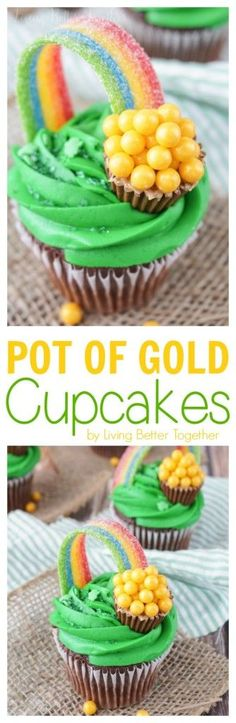 These Pot of Gold Cupcakes are perfect for St. Patrick's Day! They're simple enough to make and absolutely adorable! (Easter Baking Cupcakes)