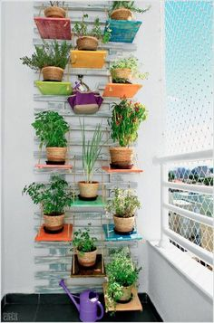 Vertical Garden with Painted Wooden Boards Hung with Rope in the Balcony
