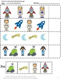 nteractive Math Notebook: Students love Interactive Notebook Activities. With this Outer Space Interactive Notebook Cut and Paste Activities packet students will be able to practice number matching, counting, addition and subtraction. This Outer Space packet contains 10 space themed worksheets.