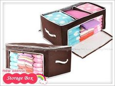 Bamboo Charcoal Brown Organizing Storage Box with Lid Clothes Toys Accessory