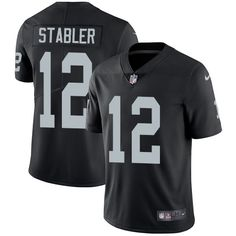Nike Raiders #12 Kenny Stabler Black Team Color Men's Stitched NFL Vapor Untouchable Limited Jersey