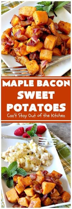 Maple Bacon Sweet Potatoes – Can't Stay Out of the Kitchen Sweet Potato Hash, Sweet Potato Recipes, Bacon Recipes, Side Dish Recipes, Easy Dinner Recipes, Cooking Recipes, Healthy Recipes, Side Dishes, Recipes