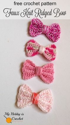 My Hobby Is Crochet: Faux Knit Ridged Bow - Free Crochet Pattern