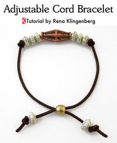 Adjustable Cord Bracelet - Tutorial by Rena Klingenberg. Bead and knots clasp.