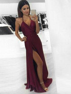 Sexy A-line Halter Burgundy Long Prom Dress Formal Evening Dress