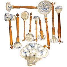 Antique German Meissen Blue Onion Porcelain Kitchen Utensil Set from historicshop on Ruby Lane