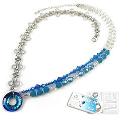 DoubleBeads Jewelry Kit Carribean Chique necklace ± 56-63cm with SWAROVSKI ELEMENTS beads, pendant and various other materials (such as natural stone beads Natural Crystal and metal chain)