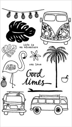 Flamingos/good times/Transparent Clear Stamps for DIY Scrapbooking/Card Making/Kids Christmas Fun Decoration Supplies. Category: Home & Garden. Bullet Journal Writing, Bullet Journal Ideas Pages, Bullet Journal Inspiration, Simple Doodles, Cute Doodles, Doodle Drawings, Easy Drawings, Black And White Stickers, Doodle Art Journals