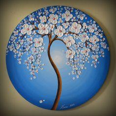 "ORIGINAL Fine Art Modern Tree Painting Blue Landscape Home Decor 20"" Abstract Heavy Textured White Flowers Palette Knife Artwork"