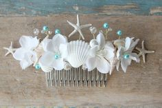 Something Blue Beach Wedding Comb, Seashell Starfish Pearls Crystals & Flowers Hair Comb, 'By The Sea', wedding accessory