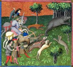 Le Livre de la Chasse, Slaying the Boar (Morgan Library, c. 1407). Gaston Phoebus wrote Le Livre de la Chasse between 1387 and 1389, for Philip the Bold. The duke of Burgundy may have intended it for the instruction of his son, John the Fearless. Click on link for more details.