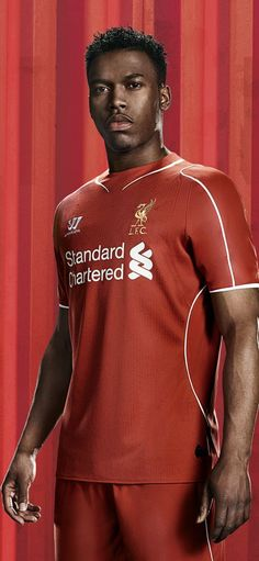 Daniel Sturridge models the new #LFC home kit for the 2014/15 season