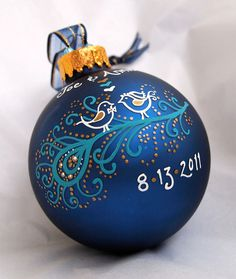 Peacock Wedding Ornament - Personalized. $30.00, via Etsy.